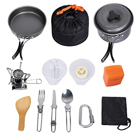 G4Free Camping Cookware Pan Cooking Picnic 14 Pieces Portable Non Stick Pot Pan Stainless Steel Cups Spoon Stove Carabiner Set with Foldable Gas Tripod for Hiking Outdoor